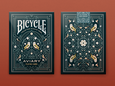 Bicycle Aviary Playing Card Deck typography illustrator aviary bicycle playing card ornate floral owl bird tuck box packaging vector illustration