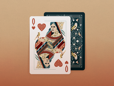 Queen of Hearts floral cardinal feather queen of hearts aviary birds bicycle playing cards cards hearts queen texture illustrator vector illustration