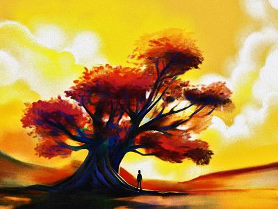 tree digital painting sky dusk sunset clouds tree art ipad procreate illustrator illustration