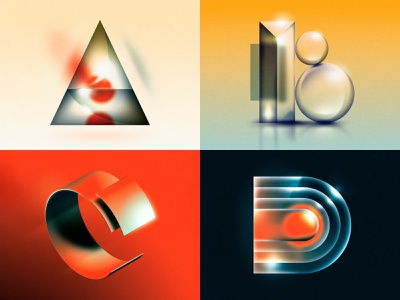 A B C D texture material glass shiny airbrush 1980s 1970s future retro design illustrator illustration vector 36 days of type drop cap letter type