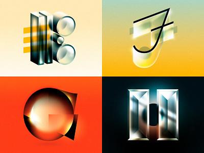 E F G H 1980s 1970s future retro glass 36 days of type drop cap design letter typography illustrator lettering type vector illustration