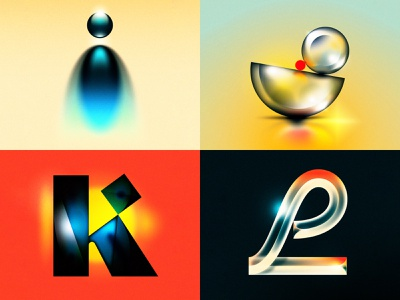 I J K L l k j i glass drop cap 1970s 1980s future retro 36 days of type design letter typography illustrator lettering type vector illustration