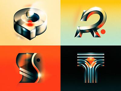 Q R S T 36 days of type drop cap texture glow glass retro future t s r q design letter typography illustrator lettering type vector illustration