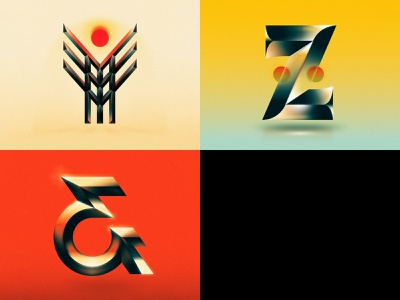 Y Z & drop cap retro future ampersand z y 36 days of type design letter typography illustrator lettering type vector illustration