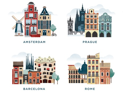 Illustrated Cities of Europe vector illustration city architecture rome barcelona prague amsterdam europe