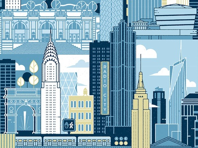 Illustrated Poster of New York City subway chrysler building illustrator vector poster architecture city illustration nyc new york new york city