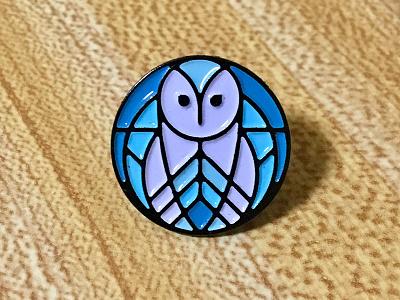 Owl Enamel Pin blue enamel pin vector geometric bird animal nature barn owl owl