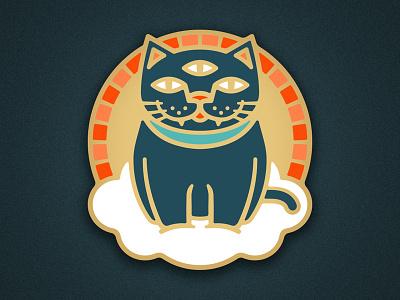 Mystic Cat gold illustrator vector illustration soft enamel lapel pin enamel pin cloud mystic cat