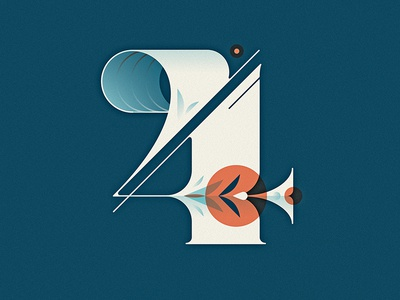 36 Days of Type - 4 vector typography type lettering letter illustration dropcap four 4 capital 36daysoftype