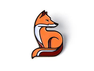 """Fox"" Enamel Pin vector soft enamel animal lapel pin illustrator illustration fox enamel pin nature"