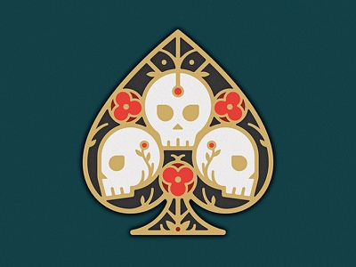 Ace Of Spades gold enamel pin flower poppy death skull deck card ace spade illustration