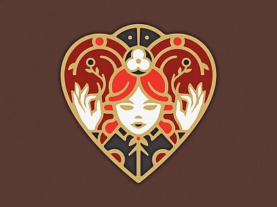 Queen Of Hearts gold enamel pin flower poppy love crown deck card queen heart illustration