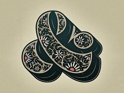 Ampersand illustration dimensional type ornament floral drop cap woodtype ampersand type lettering letter