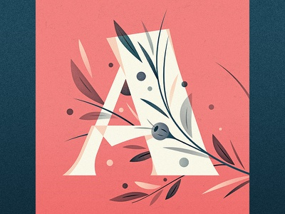 A illustration goodtype ornament floral drop cap logotype 36 days of type a type lettering letter