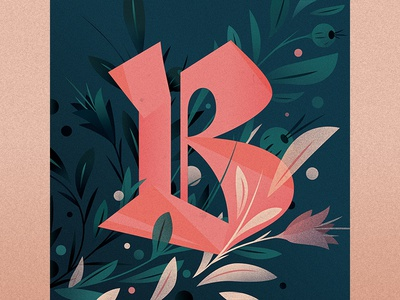 B illustration goodtype ornament floral drop cap logotype 36 days of type b type lettering letter