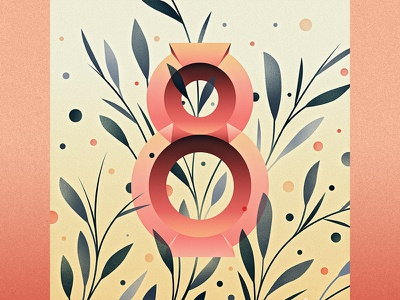 8 illustration eight ornament floral drop cap logotype 36 days of type 8 type lettering number