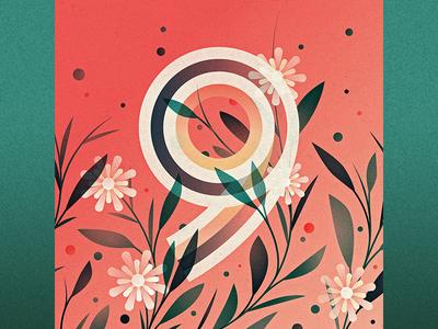 9 illustration nine ornament floral drop cap logotype 36 days of type 9 type lettering number