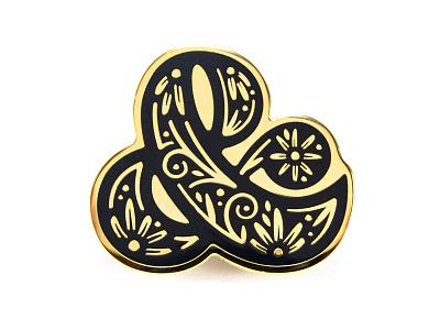 Ampersand Pin illustration graphic design drop cap enamel pin ornament floral lettering type ampersand