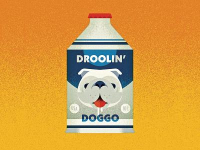 06/31 - Drooling design branding vectober inktober 2018 inktober drooling dog label beer can beer vector illustration