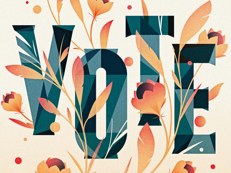 VOTE midterms vote design texture floral illustrator ornament letter typography vector lettering type illustration