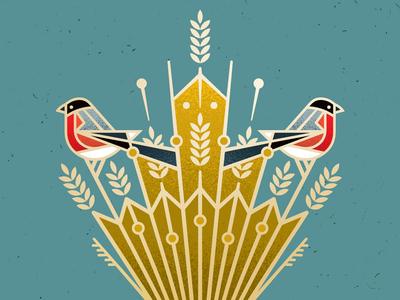 Christmas Sheaf christmas card tradition holiday xmas eve christmas wheat julenek sheaf bullfinch nature bird design illustrator vector illustration