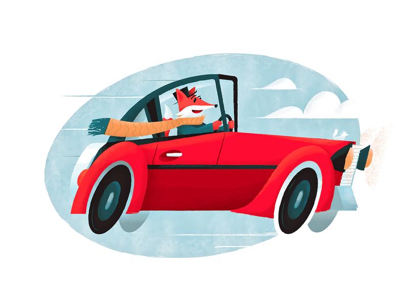 Fox Driving a Whip children art winter scarf car illustrator fox photoshop design illustration