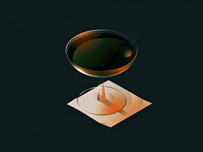 Cocktail whiskey perspective light contrast napkin coupe glass cherry manhattan rye cocktail isometric design illustrator vector illustration