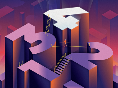 CSS Selectors Level 4 isometric stairs ladder tightrope selectors coding programming web css editorial design illustrator vector illustration