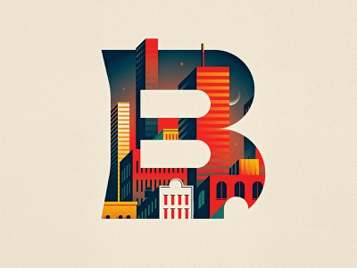 B sunset dusk skyline city buildings capital texture drop cap design dropcap type lettering vector letter illustrator illustration
