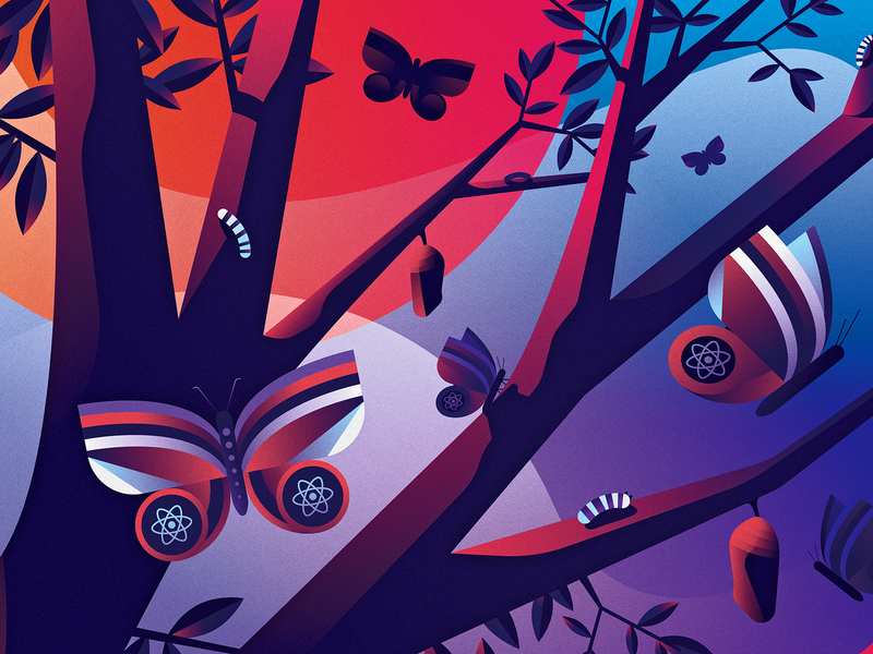 React Transition Groups logrocket programming development web sunset tree caterpillar cocoon butterfly metamorphosis transition css react vector design illustrator illustration