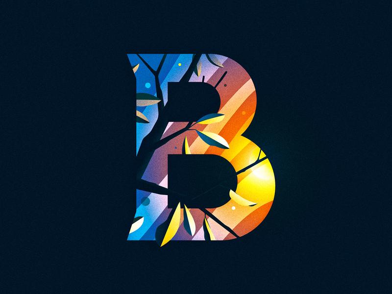 B tree sunrise sun b 36 days of type capital dropcap design texture 36daysoftype drop cap ornament illustrator letter typography vector lettering type illustration