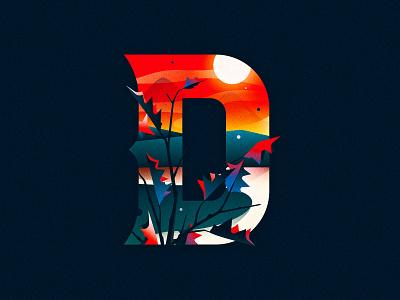 D landscape sunset goodtype 36 days of type capital dropcap design texture 36daysoftype drop cap illustrator letter typography vector lettering type illustration