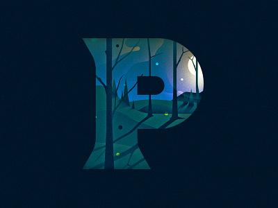 P p trees moon night 36 days of type dropcap design texture 36daysoftype drop cap illustrator letter typography vector lettering type illustration