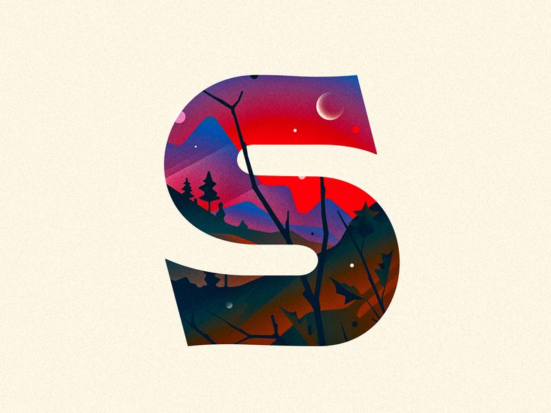 S dusk sunset moon mountains dropcap 36 days of type design texture 36daysoftype drop cap illustrator letter typography vector type lettering illustration