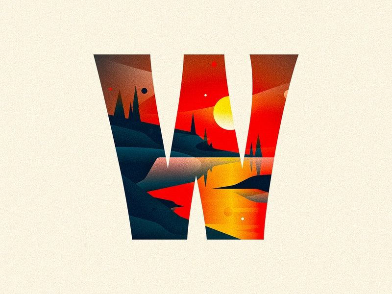 W lake sunset 36 days of type dropcap design texture 36daysoftype drop cap illustrator letter typography type vector lettering illustration