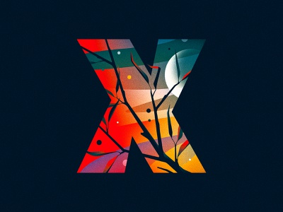 X moon x 36 days of type design texture 36daysoftype drop cap illustrator letter typography vector type lettering illustration
