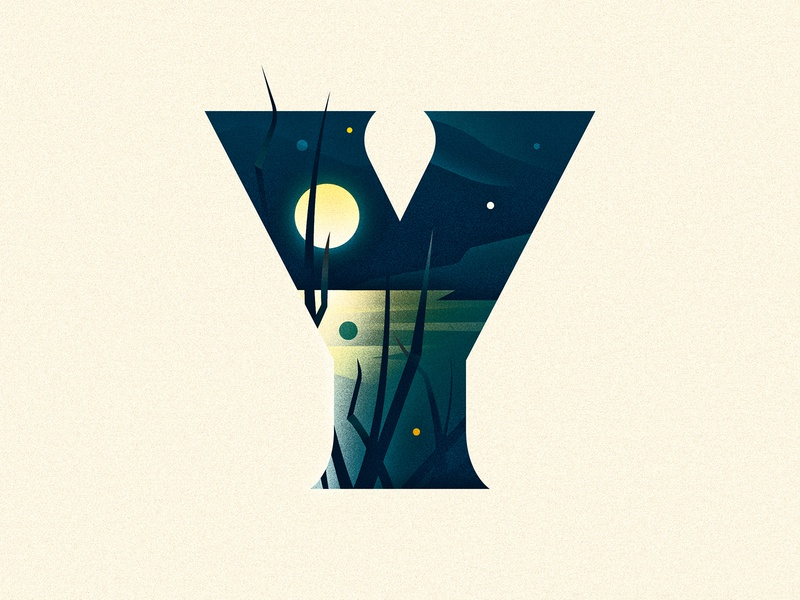 Y lake moon y 36 days of type dropcap design texture 36daysoftype drop cap illustrator letter typography vector lettering type illustration