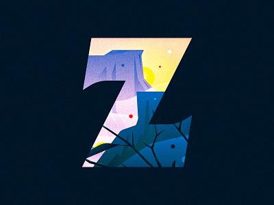 Z cliffs dawn sunrise z design texture 36daysoftype drop cap illustrator letter typography vector lettering type illustration