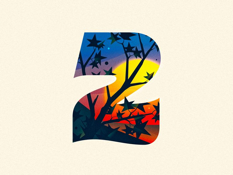 2 (Two) sunset branch leaf 36daysoftype drop cap illustrator letter typography vector type lettering illustration