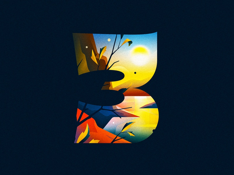 3 (Three) three 3 sunrise river design texture 36daysoftype drop cap illustrator letter typography vector lettering type illustration