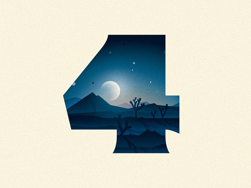 4 (Four) four 4 joshua tree moon design texture 36daysoftype number drop cap illustrator letter typography vector lettering type illustration