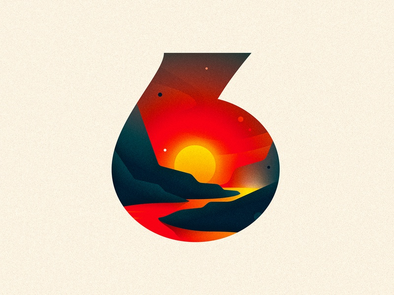 6 (SIX) mountains river sunset design texture 36daysoftype drop cap illustrator letter typography vector type lettering illustration