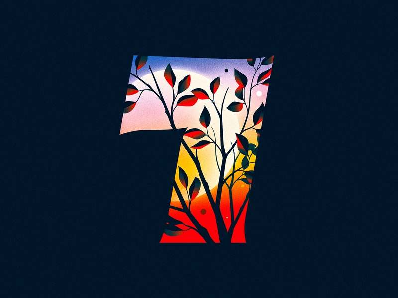 7 (SEVEN) moon branches leaf design texture 36daysoftype drop cap illustrator letter typography vector type lettering illustration