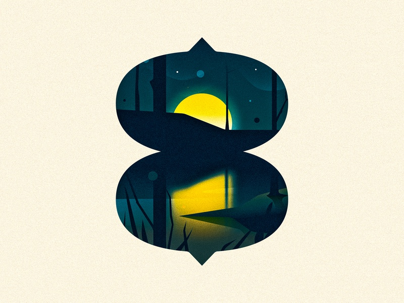 8 (EIGHT) trees reflection moon design texture 36daysoftype drop cap illustrator letter typography vector type lettering illustration