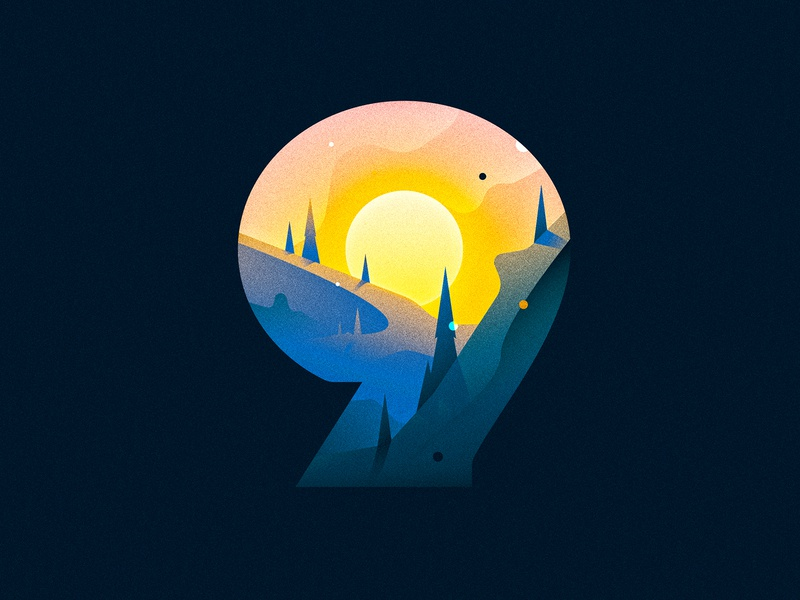 9 (Nine) sky mountains sunrise design texture 36daysoftype drop cap illustrator letter typography vector type lettering illustration