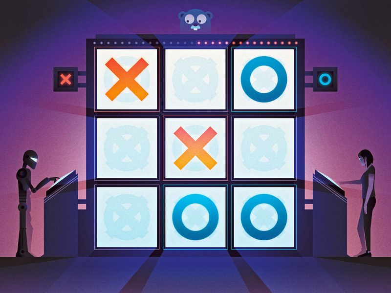 How to Make a Tic-Tac-Toe Bot with WebAssembly for Go programming gopher game robot bot tic tac toe webassembly javascript web editorial design texture illustrator vector illustration