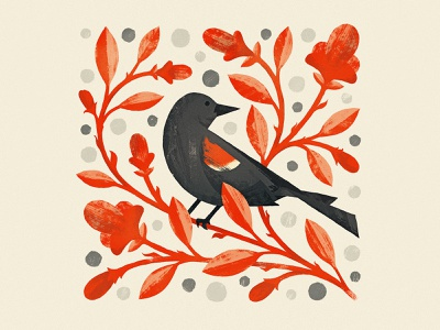 Red-winged Blackbird folk art nature vines flowers bird photoshop wacom design texture illustrator vector illustration