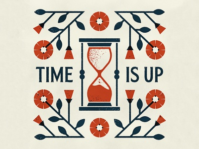 Time Is Up time death vine flower poppy hourglass texture design illustrator vector illustration