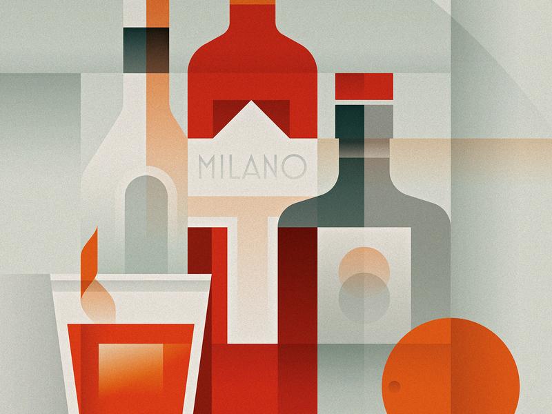 Negroni glass bottle orange vintage geometric negroni cocktail cubism art deco photoshop design texture illustrator vector illustration
