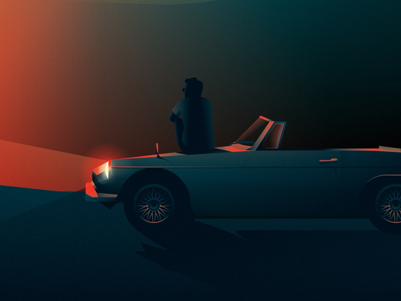 Taking in the View dusk water lake classic car editorial scene landscape contrast photoshop sunset retro illustrator illustration car